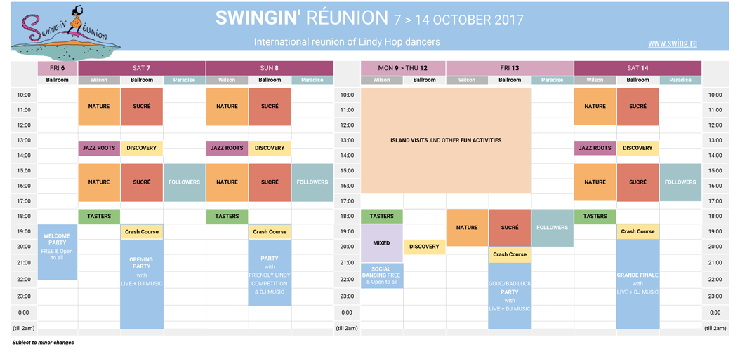 Swingin' Réunion 2017 - Programme and Pricing table