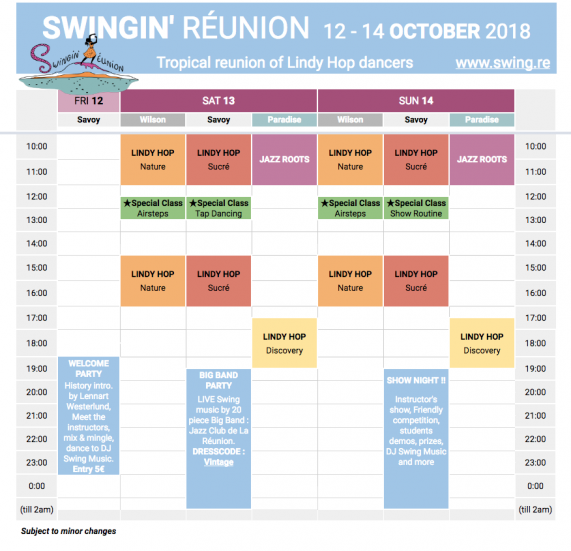 Swingin' Réunion 2018 - Programme